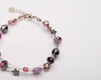 Purple Rain Multi Strand Glass Bead Bracelet