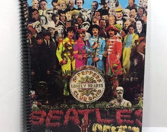 The Beatles Album Cover Notebook Handmade Spiral Journal - Sgt Peppers Lonely Hearts Club Band