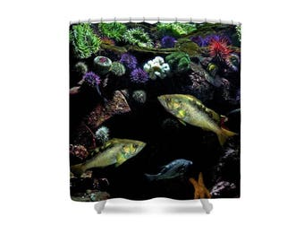 Fish Shower Curtain, Aquarium Decor, Aquatic Decor, Ocean Theme Bathroom, Sea Anemone, Starfish, Sea Theme Bathroom, Sea Theme Shower