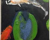 Biltmore Forest Koi 2 is an tiny encaustic that captures the fluidity of motion of koi that live an inky blue pond