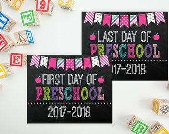 First Day Of Preschool Sign - Preschool Sign - Print Yourself 1st Day of Preschool Sign - Back to School Sign - 1st Day of School Chalkboard