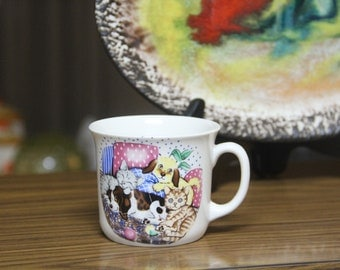 Vintage Ceramic  Cat mug- Trisa  Fine Porcelain Bavaria