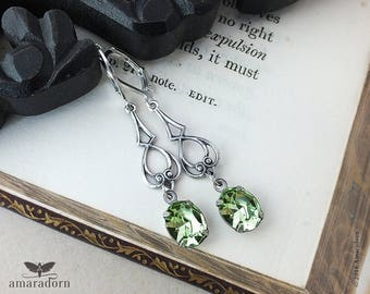 Art Nouveau Style Earrings, Silver and Pale Green Mint Earrings with Chrysolite Swarovski Crystal, Vintage Style, Bridesmaid, Handmade UK