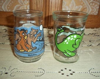 Welch's Vintage Jelly Jar Glasses Lion King Simba's Pride n Green Brontosaurus Juice Tumblers Collectible Glassware Excellent Condition