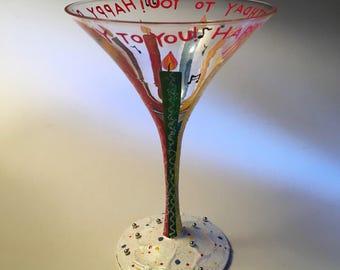 "Artsy Lolita ""Happy Birthday To You"" martini glasses"