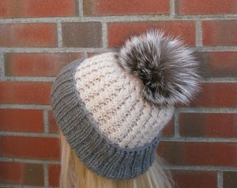Gray Hat,White Hat,Winter Womans ,Hat With Natural Fur Pompom,Natural Fur Pom Pom,Hand Knitted Hat,Winter Cap,Handmade Hat,Fur Pom Pom