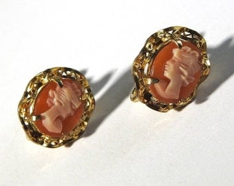 1930s Gold Filled Cameo Earrings