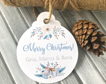 Personalized Christmas tags, holidays gift tags, gift wrapping, Merry Christmas tags, Happy Holidays tags, present labels -set of 12(tg67)