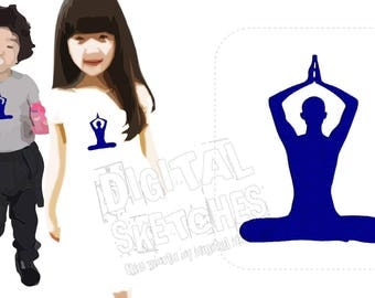 Yoga Machine Embroidery Design Meditation 3 Sizes
