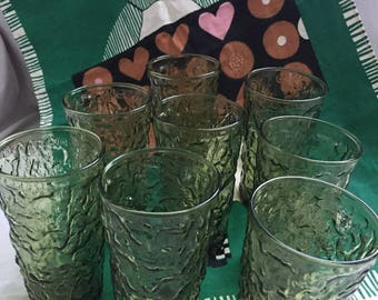 Green Crinkle Glasses (8) Vintage Anchor Hocking Milano Lido or Soreno avocado green tumblers set of 8