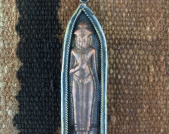 Copper Standing Buddha Pendant from Thailand - 2 1/4 Inches (60 mm)