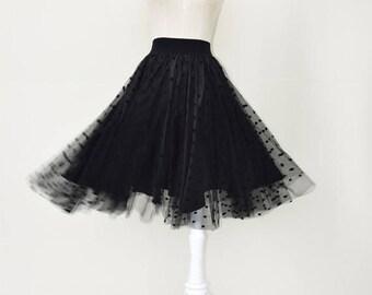 Tulle black dot skirt dress, full length knee length skirt,women tutu