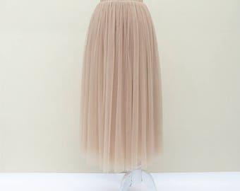 Summer women Apricot pink tulle skirt dress, adult tulle skirt, party datting tutu