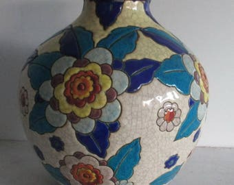 Catteau art deco ceramic  vase Boch Keramis colorfull flowers