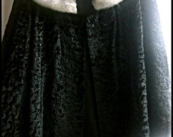 Gorgeous Black Persian Lamb Fur Jacket with Silver Mink Fur Collar - Size M