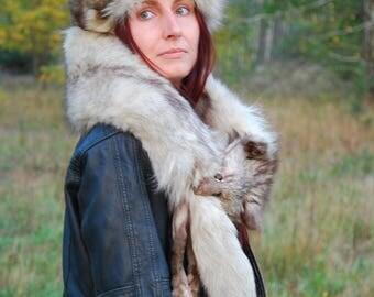 Vintage Silver Fox Fur Hat 60s Real Fox Cap Retro Women Pillow Style Genuine Silver Fox Fur Hat Small