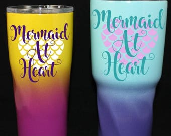 Personalized Powder Coated Tumbler. Tumbler with Mermaid at Heart Decal. Choose decal color, tumbler color & size. Perfect for gift giving.