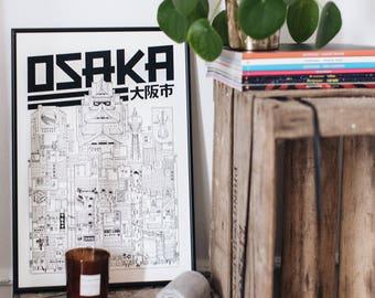 Osaka / 32x45 cm/ Docteur Paper / Travel With Me / Illustration / Voyage / Affiche / Ville / Décoration murale / Noir et Blanc/ Map / Design