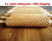 FREE shipping for 5 x Rolling Pin engraved patterns ! SET of ANY 5 Rolling Pins Choose any rolling pin you want