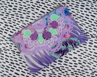Lilac EMBELLISHED CLUTCH PURSE. Pastel coloured, floral print fabric with textural detail. Holiday wardrobe. Handmade from vintage fabric.