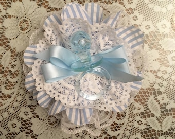 Baby Boy Shower Corsage, Blue Pacifier Charm, Baby Shower Corsage, Blue or Pink, Baby Shower Mom to Be, Shabby Chic Baby Shower Corsage