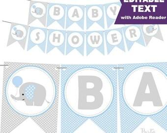 Blue Elephant Baby Shower Banner - Editable Text Printable Banner -  Baby Boy Garland D608 BBEB1