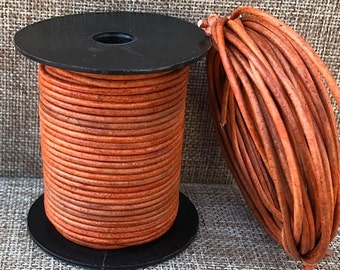 25 Meters 2mm Round Leather Cord Distressed Tangerine Natural Dye 25 Meters (27 Yards) Round Leather Cord Made In India - LCR2-3021