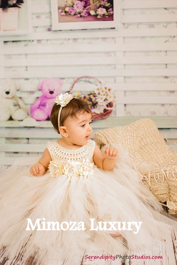 Ivory Flower Girl Dress, Baby Baptism Dress in Ivory, Baby Christening dress, First Communion Dress, ivory tutu dress, ivory christening