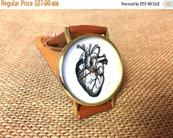 Watch with Free engraving watch, heart, medical, medicine, anatomical, watches for men, watches for women, black watch, design watch, c