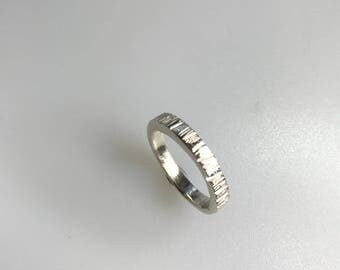Silver Chunky Ring, bark texture, size Q