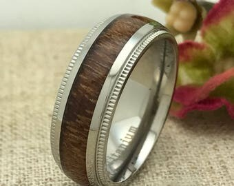8mm Personalized Titanium Ring with Wood Inlay, Custom Promise Ring for Him, His Wedding Band, Purity Ring, Friendship Ring, Groomsmen Ring