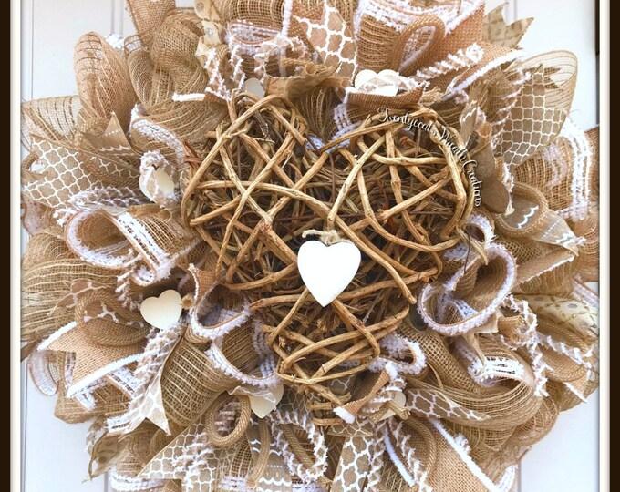Valentine's Wreath- Farmhouse Valentine's Wreath- Wedding Wreath