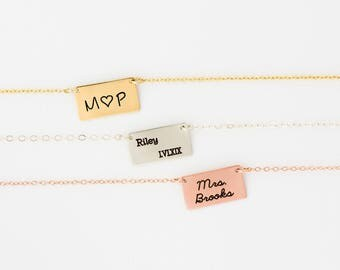 Chubby Gold Bar Necklace, Rose Gold, Gold or Silver, Custom Gold Bar, Engraved Necklace, Customized Name Bar, Personalized Bar Necklace