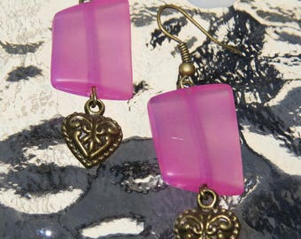 Earrings bronze heart and pink rectangle by JosieCoccinelle