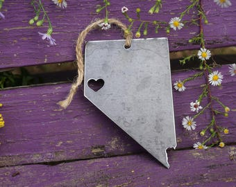 Reno Nevada Christmas Tree Ornament Rustic Metal State Heart Holiday Gift Stocking Stuffer Industrial Decor Wedding Favor By BE Creations