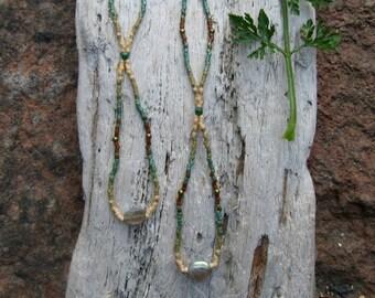 Long Seed Bead Earrings // Gemstone // Moonstone // X long