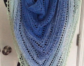 Spring/summer light weight Hand crochet wrap/shawl, ready to ship