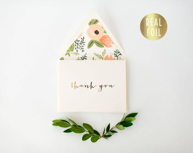 gold foil thank you cards +  lined envelopes (set of 10) // wedding thank you cards real gold foil pressed stamped card