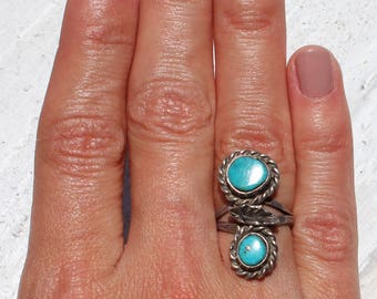 Native American Jewelry/ Boho Jewelry/ Turquoise Ring / Turquoise Pinky Ring/ 4.5/ Pyrite Morenci Turquoise