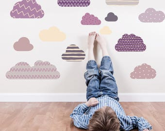 Clouds Wall Stickers, Fabric Wall Decals, Children's Wall Art, Kids room, Interior Decor Inspiration, Reusable Wall Stickers, SnuggleDust