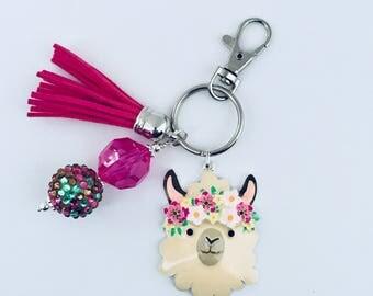 Llama Key Chain, Drama Llama, Alpaca Key Chain, Llama Lovers, LLama Gifts, Purse Charm, Boho Key Chain, Animal Key Chain, Tassel Key Chain