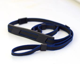 Minolta Camera Strap in Black and Blue with Neck Pad and Viewfinder Cover