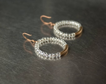 Hoop earrings with 1940's Czech glass Mixed metal Bronze & brass hoops Winter jewellery Snow queen Modern contemporary tribal Christmas gift