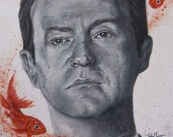 Mycroft Holmes with his Goldfish, Mark Gatiss original Acrylic Portrait A4 Print