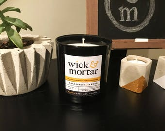 Grapefruit & Mango // Scented 12oz Candle in Black Glass Jar