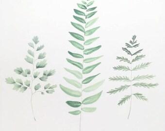 Fern Print, Plant Print, Fern Art, Plant Art, Fern Painting, Plant Painting, Plant Decor, Fern Artwork, Foliage Art, Boho Decor
