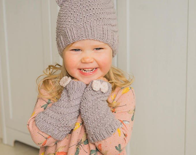 KNITTING PATTERN beanie hat and wrist warmers set Twist (baby, toddler, child, adult sizes)