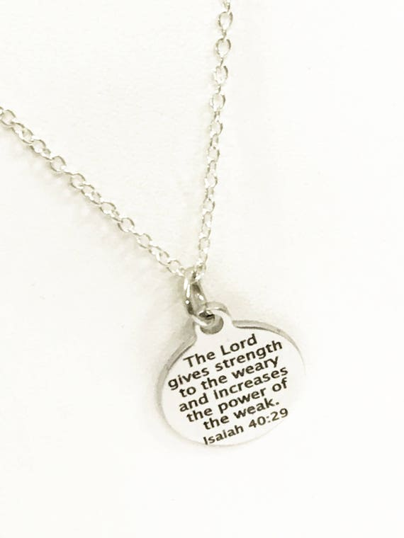 Scripture Gifts, Scripture Jewelry, Isaiah 40 29 Verse Necklace, Christian Gifts, Scripture Necklace, Bible Verse Gfits, Baptism Gifts