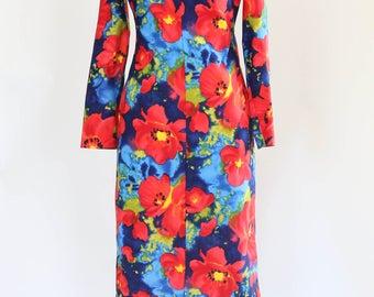 floral polyester dress vintage 1970s
