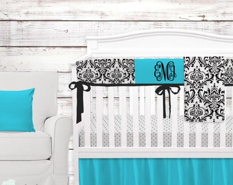Tiffany Blue & Black Damask Baby Crib Bedding   Tiffany Blue Baby Girl Nursery   Tiffany Baby Bedding Set   Tiffany Crib Bedding Set